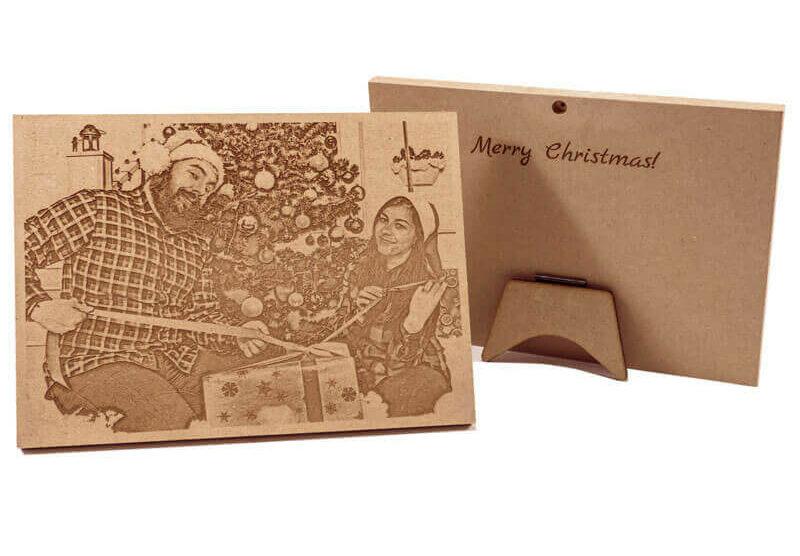 Снимка върху дървена плочка, семейна гравюра подарък за коледа, лазерно гравирана снимка